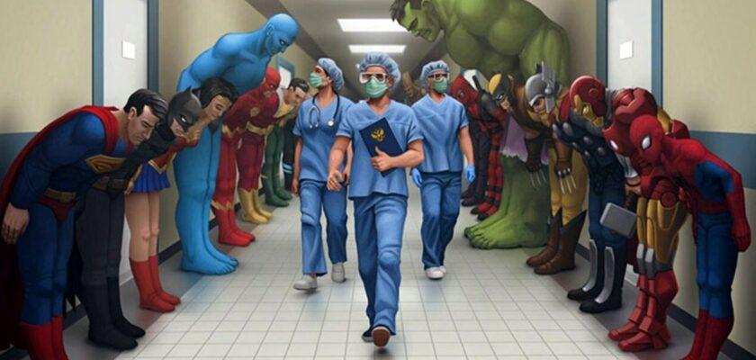 sağlık çalışanları ve süper kahramanlar